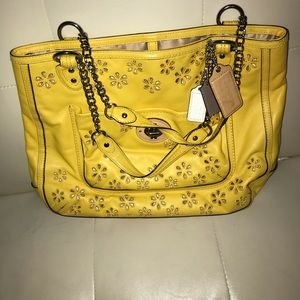 Vintage yellow coach bag flowers